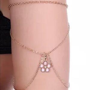 Flower crystal pink daisy arm band chain bracelet